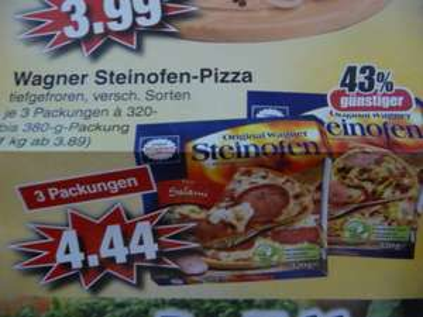 (Lokal) Wagner Steinofen-Pizza verschiedenen Sorten (3 Packungen) bei Edeka in Alzenau / Mömbris / Schöllkrippen Stückpreis 1,48 Euro