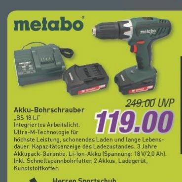 [Marktkauf (regional?) ab 19.03.2015] Metabo Akku Bohrschrauber BS 18V Li-Ion, 2*2,0Ah-Akkus für 119€ (Idealo 145€)