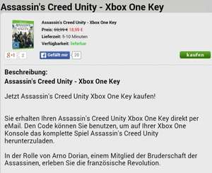 Assasins Creed Unity (XBOX One) für 18.99€ + @mmoga