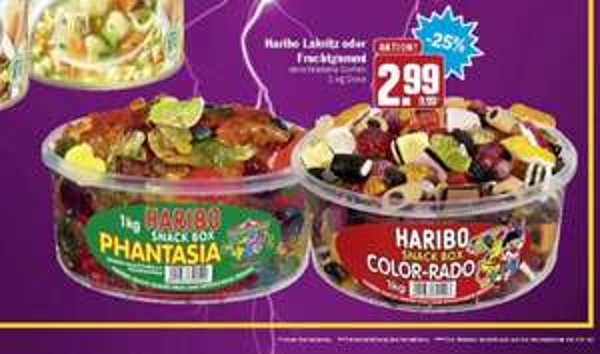 [Hit] Haribo Lakritz oder Fruchtgummi 1kg für 2,99 EUR