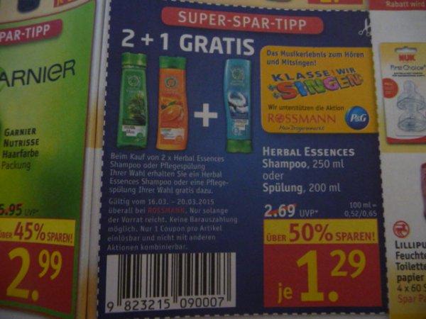 Herbal Essences Shampoo und/oder Spülung bei Rossmann bundesweit 2+1 gratis (ergibt 0,86€ pro Flasche)