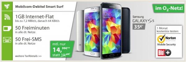 Vertrag mit 1GB Flat und Galaxy S5 für 400€ über 2 Jahre