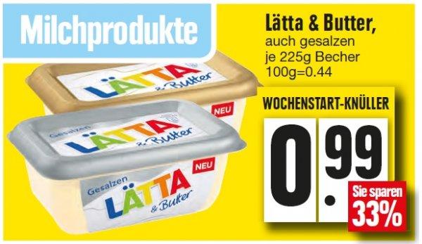 Edeka Nordbayern Lätta mit Butter zum Tiefstpreis von 29 Cent (ohne coupon 99 Cent)