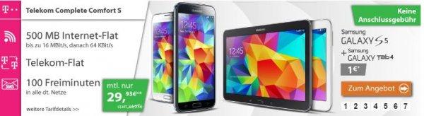 Für Telekom Kunden mit bis zu 141,20€ Gewinn: Telekom Complete Comfort S mit Samsung Galaxy S 5 + Galaxy Tab 4 10.1 / 29,95 € Monat mit Magenta Vorteil 19,95!
