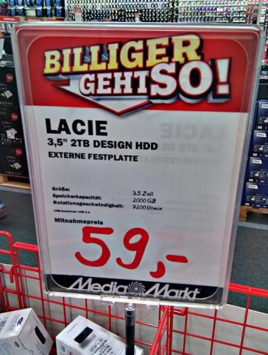 [MediaMarkt] Restposten: 2 TB externe HDD Lacie , 7200 u/min für 59 Euro