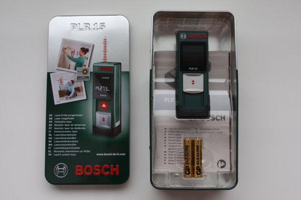 "Bosch PLR 15  Laser-Entfernungsmesser + Akku-Ladegerät ""Power Bank"" für 41,99 EUR (+4% Qipu)"