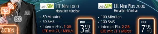 [winSIM o2] 50Min + 50 SMS + 1GB mit LTE für 3,99 / 100+100+2GB für 7,99€