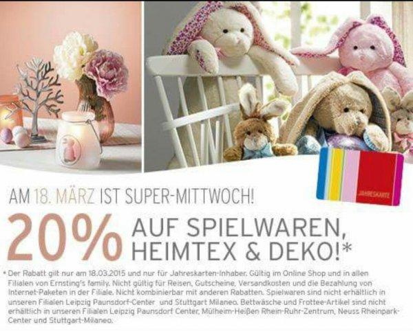 [Ernsting Family] 20% auf Spielwaren,Heimtex & Deko [nur am 18.3]