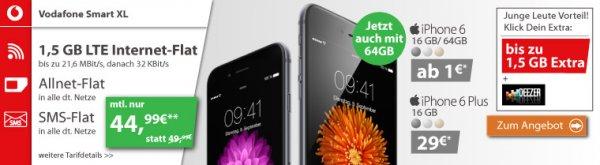 Vodafone Smart XL - Allnet Flat / SMS Flat / 1,5 GB bei 21,6 Mbit/s LTE (junge Leute + 1,5 GB & Deezer Option) für 44,99 € / Monat + iPhone 6 ab 1 EURO