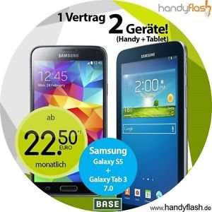 Samsung Galaxy S5+Galaxy Tab 3 Ohne Simlock+BASE all-in light inkl. Festnetz nummer 22,50€ Mtl.