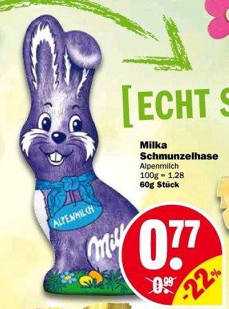 KW13 Milka Schmunzelhase 60g bei NP-Discount für 52 cent (Kauf von 4 St. incl. 1€Coupon)