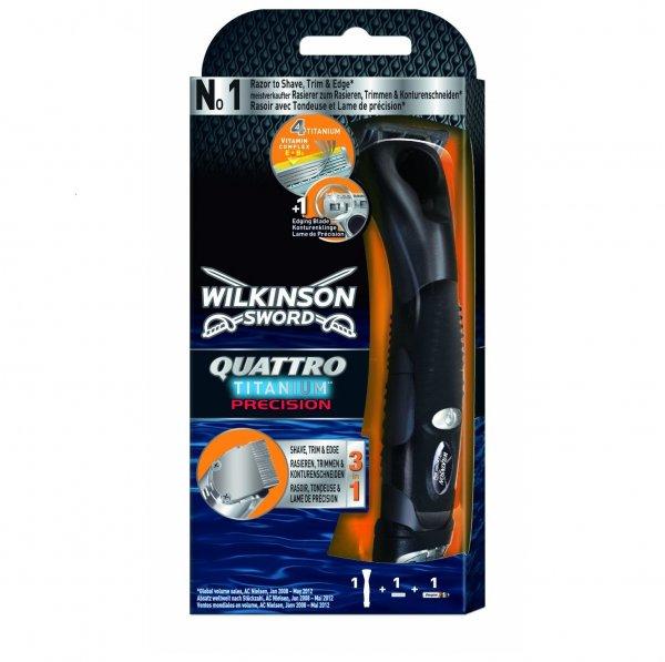 [DM] Wilkinson Quattro Titanium Precision inkl. 1 Klinge + Batterie für 1,45€ (Abverkauf + Coupon)