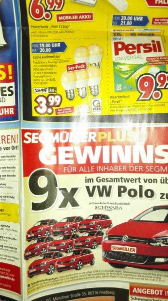 (lokal+offline) led Leuchtmittel 5er pack e27/3w für 3,99€ @segmüller weiterstadt