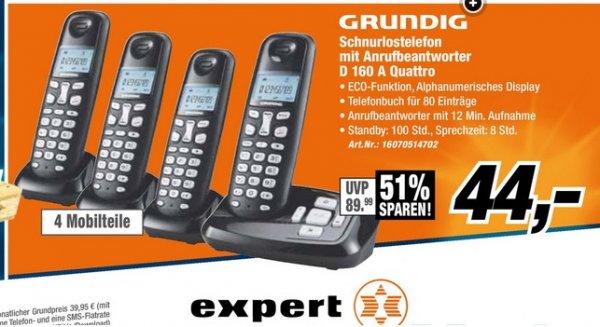 [Expert Technomarkt München] Grundig Schnurlostelefon mit Anrufbeantworter D 160 A Quattro für 44,- EUR
