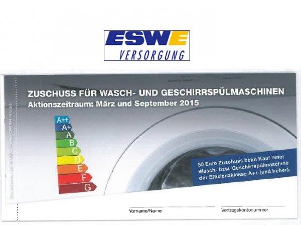 50€ Gutschrift als Wiesbadener ESWE-Kunde bei Kauf einer Wasch- oder Spülmaschine