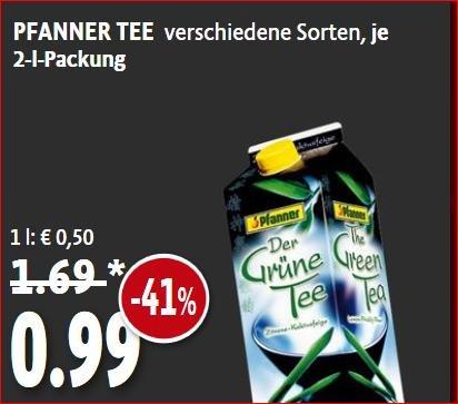 [Kaisers Nordrhein ab 16.3, Berlin & Bayern am 20/21.3] Pfanner Tee 2 liter verschiedene Sorten