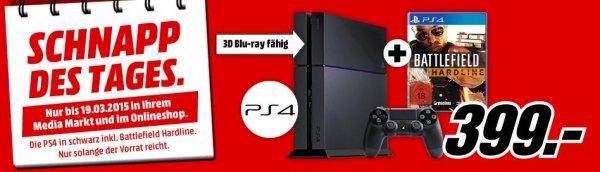 [Mediamarkt Online] Playstation 4,500GB + Battlefield Hardline für 399,-€ Nur am 19.03 (Schnapp des Tages)