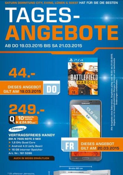 (LOKAL Dortmund,Lünen,Soest)Battlefield: Hardline (PS4) für 44€,Galaxy Note 3 Neo 249€ [TAGESANGEBOTE]