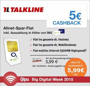 Big Digital Week bei Qipu: Talkline – Allnet Flat & 500MB für nur 5,99€ monatlich und 5€ Cashback