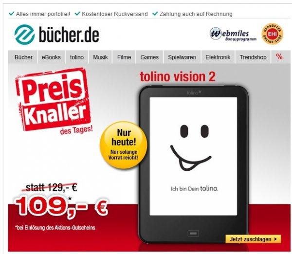 Tolino Vision 2 für 109€ inkl. VSK --- aber nur heute am 19.03.2015 ---