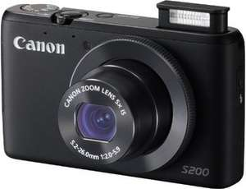 Saturn, CANON PowerShot S200 Digitale Kompaktkamera, 10,1 Megapixel, 5x opt. Zoom (24-120 mm), 7,5 cm / 3 Zoll 461.000 Pixel Display, schwarz oder weiß, 159€ + 5€ Versand, nächster Preis 199€