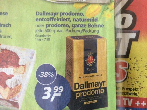 Dallmayr prodomo 500g, auch ganze Bohnen bei Real - Lokal BS