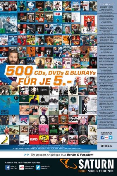[Saturn Berlin + Potsdam] 500 CDs, DVDs und Blu-Rays für je 5,- EUR