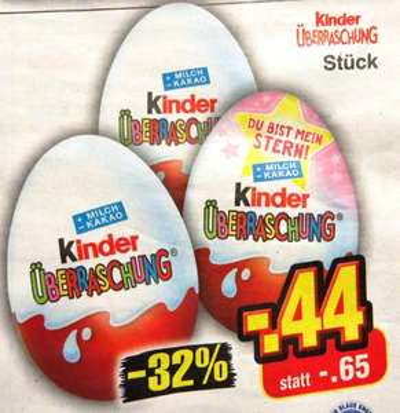 [reebate/Netto MD] KW 13: Überraschungs-Ei gratis (0,31 € Gewinn!)