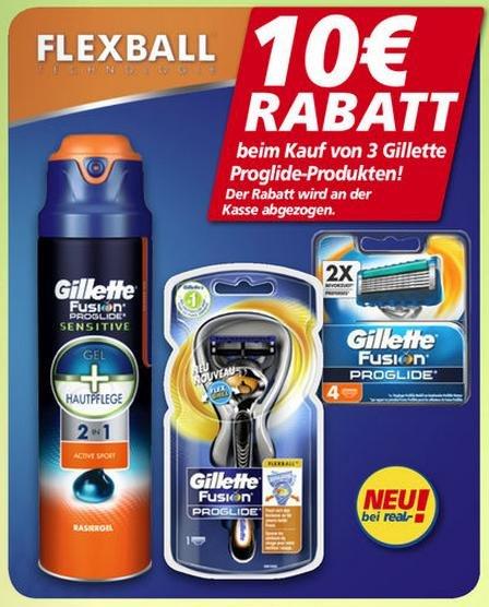 [REAL KW13] Gillette Proglide Rasierer, Klingenpack und Gel für 14,97 € (Angebot + Coupon)