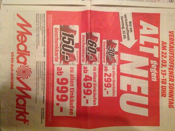 Mediamarkt Wiesbaden - verkaufsoffener Sonntag - Gutscheinkarte ab 299,-- € Einkauf