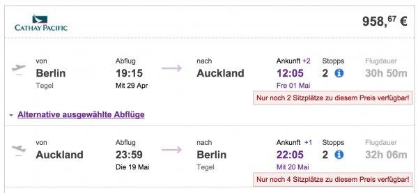 BER-AKL Flüge nach Neuseeland mit Cathy Pacific