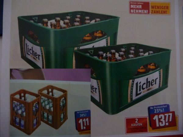 (Lokal) Rewe Center Alzenau: 2  Kästen Licher Pilsener/Export/Steini für 13,77 Euro oder 1 Kasten Rudol-Quelle Mineralwasser für 1,11 Euro