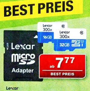 Lexar microSDHC 16GB 45MB/s High Speed incl. Adapter weit unter 10€ bei [Staples offline]