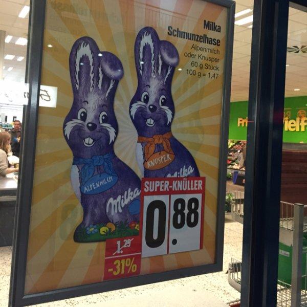 [Edeka] 4 Milka Osterhasen 60g für je 0,63€
