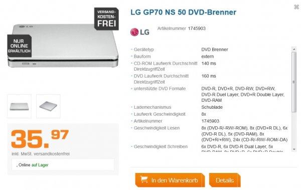 Externer DVD Brenner LG GP70 NS 50 für 30,96 EUR