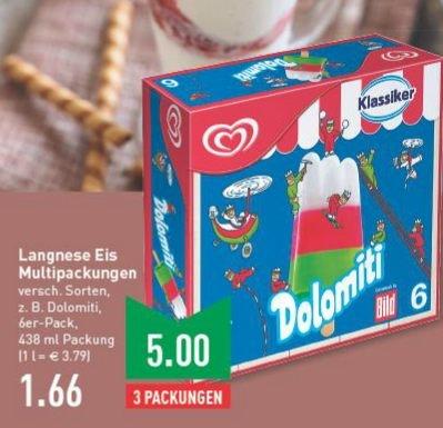 [Marktkauf (regional?) ab 23.03.2015] Langnese Eis Multipackungen (6 * Dolomiti, Flutschfinger, Capri und andere) für 1,66€ (normal 2,99€)