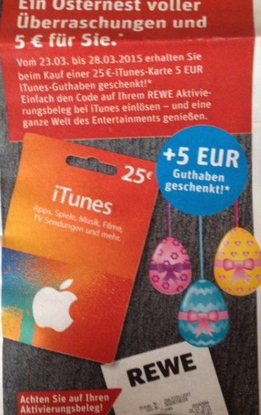 [REWE] 5€ iTunes Guthaben geschenkt beim Kauf einer 25€ iTunes Karte