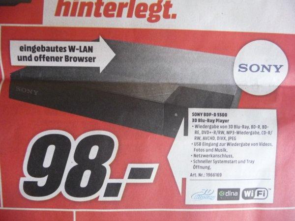 (Lokal Aschaffenburg) Sony BDP-S5500 Blu-ray Player bei Media Markt