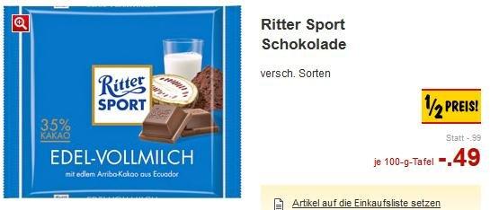 [LOKAL] Kaufland Kiel & Limburg - Ritter Sport Schokolade 100g Tafel verschiedene Sorten 0,49€ vom 22.03-28.03