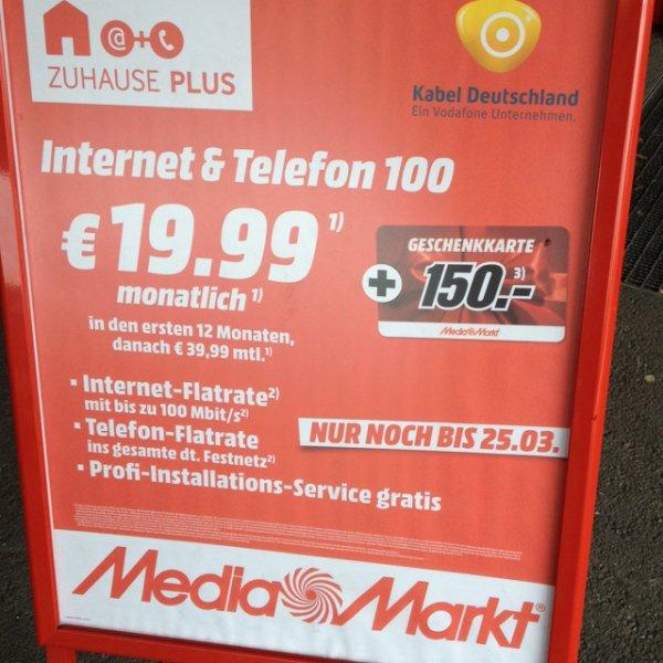 Kabel Deutschland Vertrag mit 150,- € !!! Media Markt Mühldorf am Inn !!!