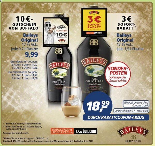 [REAL] Baileys The Original 1,5-l-Flasche 18,99 € oder 0,7-l-Flasche 9,99 € + 10,00€ -  BUFFALO - Gutschein! ( 30.03-04.04.)