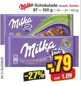 [reebate/Netto] KW13: Milka Schokolade, versch. Sorten 79ct (mit Cashback: 49ct)