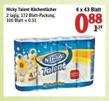 [Scondoo/Globus] KW13: Nicky Küchentücher 0,88 € (nach Abzug Scondoo-Cashback: 0,58 €!)