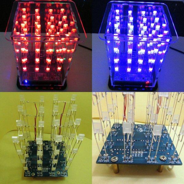 DIY Baukasten blau roter LED Würfel 4x4x4 für 8,32€ von Banggood