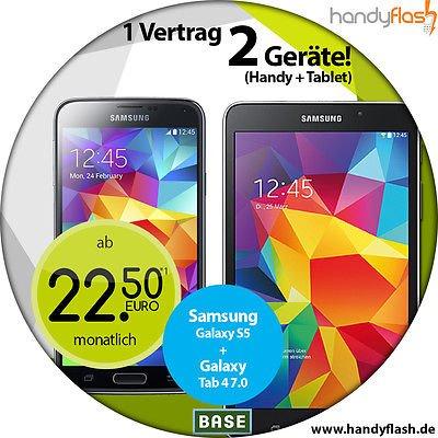 Update Samsung Galaxy S5 plus Galaxy Tab 4 7.0 mit Base All in light 22,50€  Monat [ADAC ]