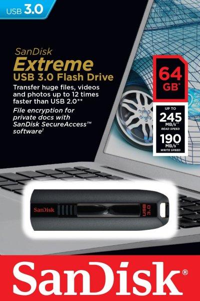 Nur Heute! Sandisk USB-Stick 64GB Extreme 3.02 245/190 Mb/s Lesen/Schreiben Amazon 29,90€