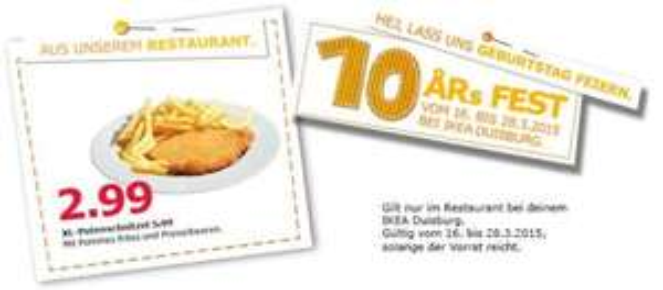 [lokal IKEA Duisburg] XL Putenschnitzel mit Pommes und Preiselbeeren für 2,99 € statt 5,99 €