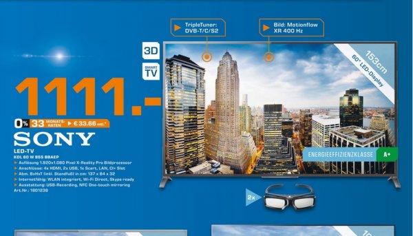 [LOKAL MG Minto] Sony KDL-60W855B für 1111€ @ Saturn