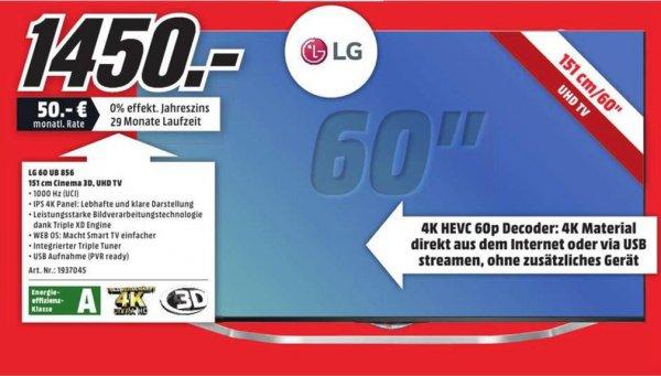 [Lokal MediaMarkt Essen] LG 60UB856V - 60 Zoll 3D UHD - Ultra HD LED-TVSmart TV für 1450 €