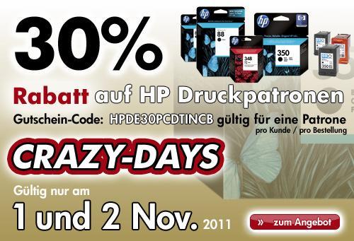 30% Rabatt auf HP Druckerpatronen am 01. und 02.11. im HP Store (Crazy Days Aktion)